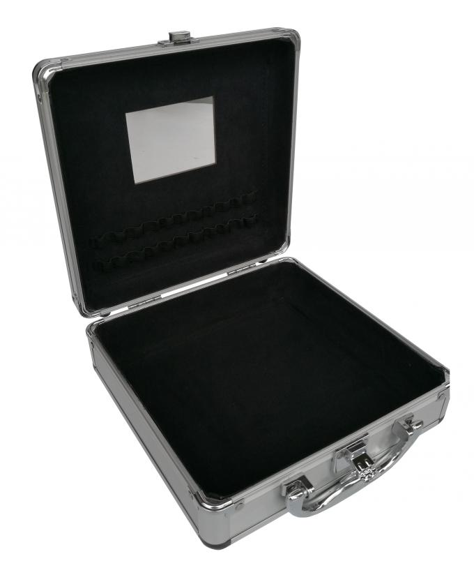 Small SilverAluminium Cosmetic Case With Inside Mirror And Chrome Closure Clasp