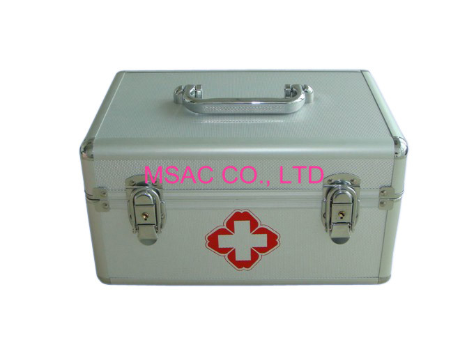 Emergency Medical Metal First Aid Box , Aluminum Medical Case With Two Locks