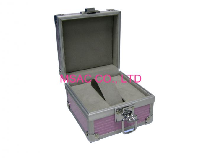 Durable Aluminum Watch Case Customized MS-WT-09 4MM MDF With Pink ABS Panel