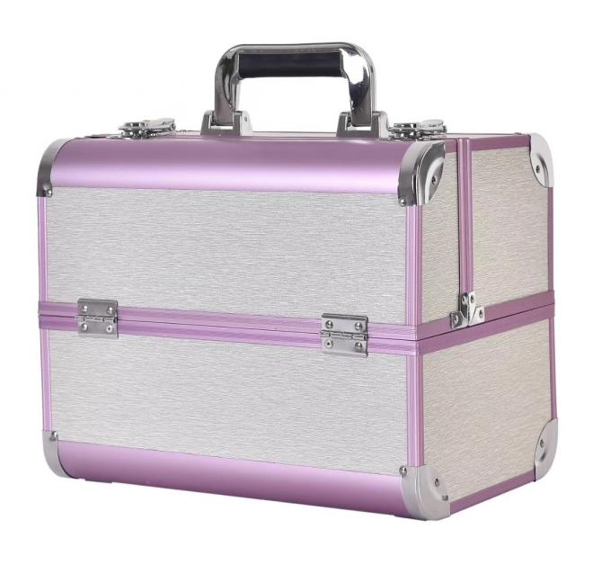 Large Aluminum Beauty Case With Plastic Trays Inside ABS Anodize Material / Aluminum Makeup Box
