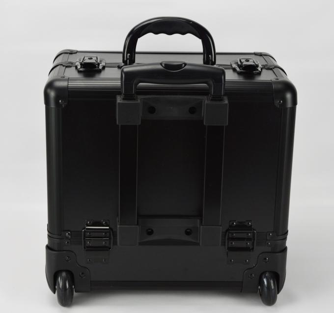 Black Small Rolling Makeup Trolley Case Size 360 * 250 * 360mm / Aluminum Pro Makeup Box