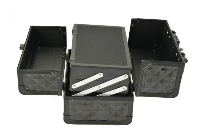 Black Small Aluminum Cosmetic Train Case With Mirror Inside, Professional Makeup Case