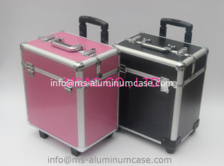 China Pink Trolley Aluminum Beauty Box With Wheels And Large Storage Space supplier