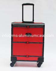 China Red-Black leather makeup trolley case with wheels supplier