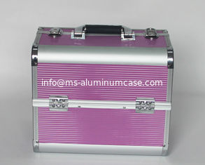China Aluminum Beauty Cases with Striped ABS Panel And Rose Red supplier