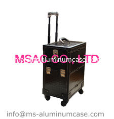 China Middle Trolley cosmetics cases makeup cases pu leather beauty cases for travel supplier