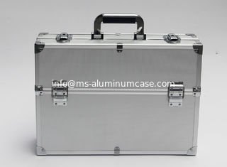 China Silver Lockable Aluminum Storage Box , Double Door Open Aluminium Tool Case supplier
