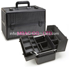 China Big Space Pro Makeup Case 4MM MDF With Black Diamond ABS Panel 360 X 220 X 240mm supplier