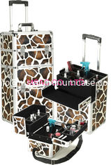China Aluminum Cosmetic Trolley Case Light Weight , Hard Zebra Makeup Case supplier