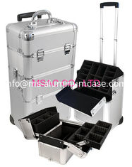 China Custom Makeup Artist Train Case Waterproof , Professional Rolling Makeup Case supplier