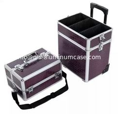 Lockable Rolling Pro Makeup Case 4MM MDF With PU Leather Panel 360 * 245 * 705mm supplier