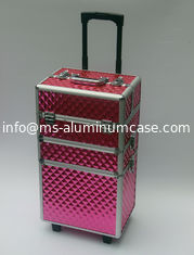 China Three Layers Makeup Travel Case , Custom Pink Aluminum Makeup Trolley Case supplier