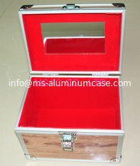 China Sliver Aluminium Cosmetic Case Red Lining Inside 90 Degree Open 220 X 150 X 180mm supplier