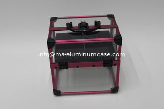 China Acrylic Aluminum Lockable Makeup Box , Small Size Portable Makeup Case supplier
