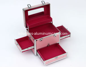 China Lockable Aluminium Cosmetic Case Pink Fireproof Panel 240 * 220 * 260mm supplier