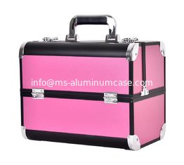 China Large Aluminum Beauty Case With Plastic Trays Inside ABS Anodize Material / Aluminum Makeup Box supplier