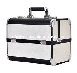 Large Aluminum Beauty Case With Plastic Trays Inside ABS Anodize Material / Aluminum Makeup Box supplier