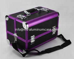 China Protable Anodize Purple Aluminum Vanity Cosmetic Case Size 300 * 220 * 245mm supplier