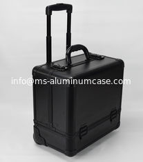 China Black Small Rolling Makeup Trolley Case Size 360 * 250 * 360mm / Aluminum Pro Makeup Box supplier