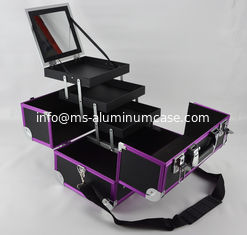 China Purple Aluminum Anodize Cosmetic Case Protable Make Up Box supplier
