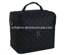 China Soft Fabric Makeup Train Case with Shoulder Strap pro makeup cosmetic case large base compartment supplier