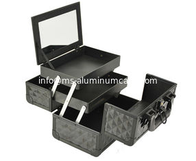 China Black Small Aluminum Cosmetic Train Case With Mirror Inside, Professional Makeup Case supplier