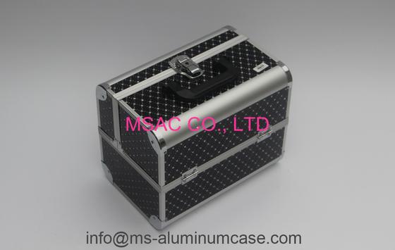 Black Aluminum Leather Cosmetic Train Cases