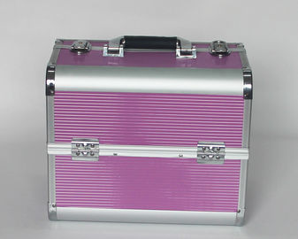 Aluminum Beauty Cases with Striped ABS Panel And Rose Red
