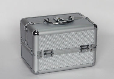 Silver Aluminum Cosmetics Train Cases Diamond ABS Panel With Small Size 250x170x170mm