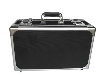 Black Aluminum Hard Case With Foam Insert Lockable Moistureproof For Transport