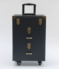 PU Leather Lockable Pro Makeup Case With Wheels And Two Drawers For Storage