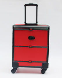 Red Professional Makeup Artist Case , Durable Makeup Trolley Case With Wheels