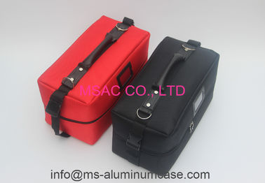 Zipper Cosmetic Travel Case , Red And Black Professional Travel Makeup Bag