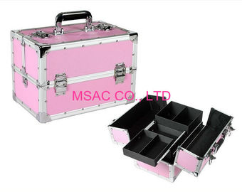 Pink Aluminium Beauty Case Silver Aluminum Edges L 260 X W 150 X H 160mm