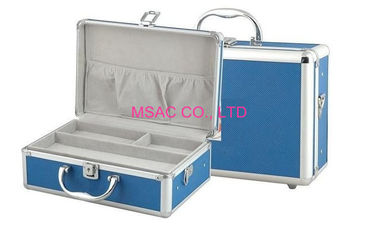 Blue Skin Aluminium First Aid Case / ABS Panel First Aid Kit With Detachable Tray Inside